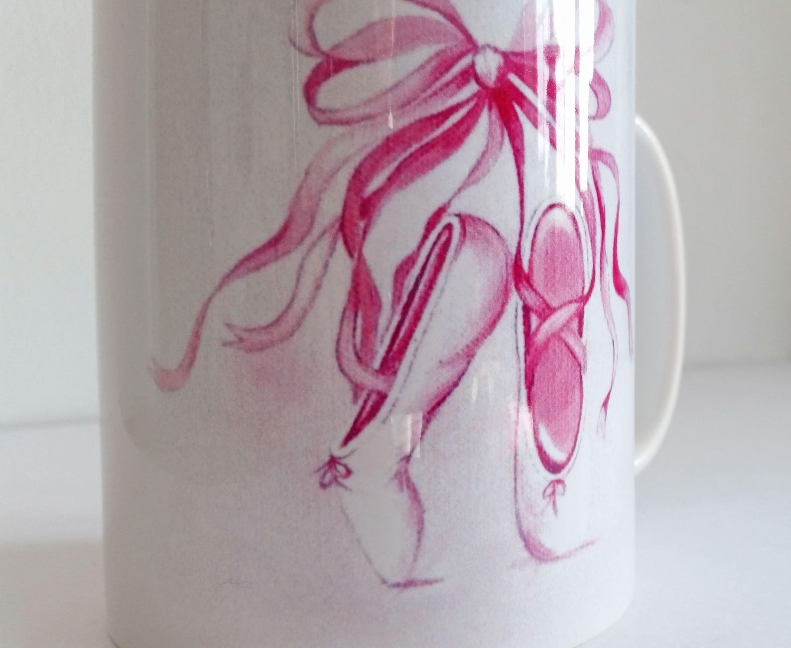ready made mug featuring my ballet shoes design - perfect gift for a little dancer - 1 working day dispatch