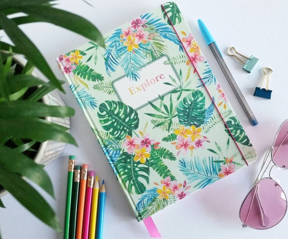 Large ready made notebooks / journals, in my 'Paradise' design, lined pages - 3 shades to choose from - perfect travel journal