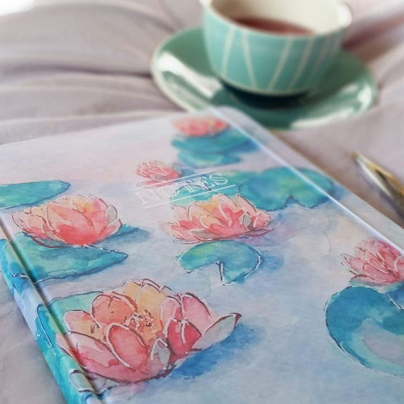 Large hand made notebook/journal, in my 'Magical Waters' watercolour design, personalised with any wording.