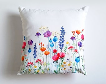 """Smooth cotton canvas cushion, featuring my floral watercolour 'Colourpop' design, 18"""" x 18"""" includes pad."""