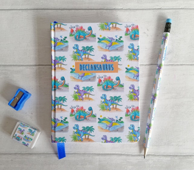 Medium or Large hand made notebook/journal, in my watercolour 'Dino' design, personalised with dinosaur name, or word.