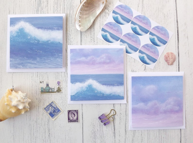 envelopes and glossy stickers featuring my /'Sea and Waves/' seascape 6x mini notecards Hand made mini notecard set