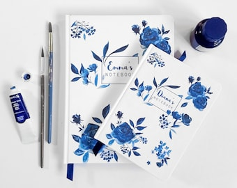 A6 hand made personalised notebook / journal, in my 'Indigo' floral watercolour design, personalised with any text, name or initials - lined