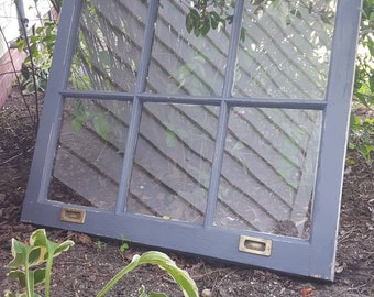 30x20 DISTRESSED AND CHIPPY RUSTIC ANTIQUE WINDOW SASH WAVY GLASS 3 PANES