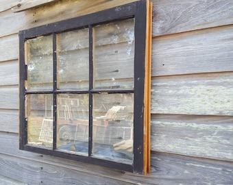 VINTAGE SASH ANTIQUE WOOD WINDOW PICTURE FRAME PINTEREST 32x24 6 PANE FAMILY