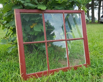 "Antique vintage farm house picture frame window sash 32"" x 27"" 6 pane barn red"