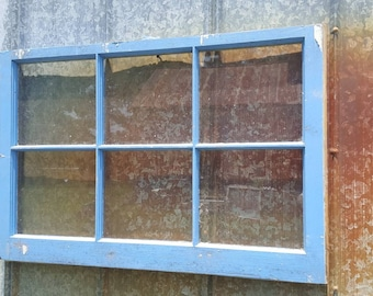 36x24 old antique shabby vintage window sash baby blue