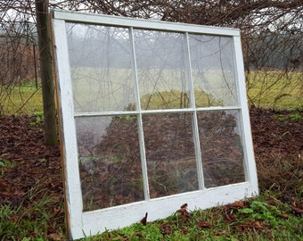 Rustic antique vintage 6 pane window sash 36x28