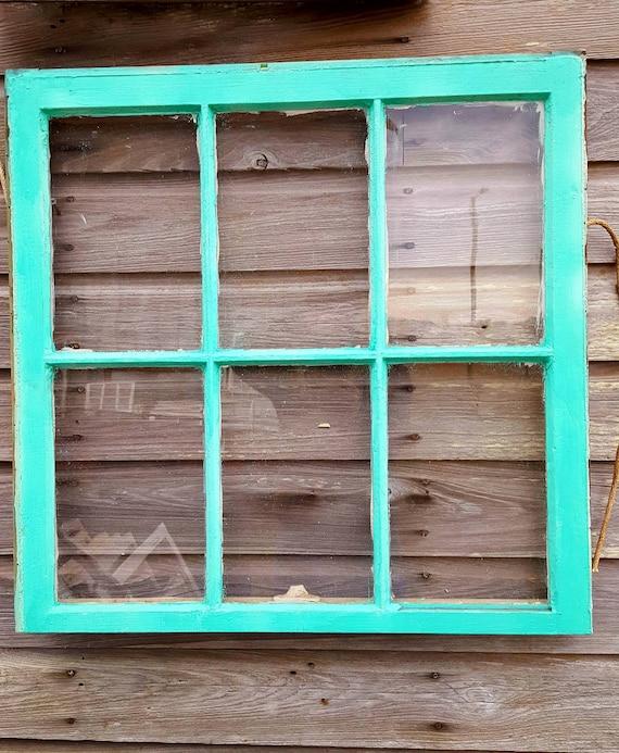 Architectural Salvage ANTIQUE TEAL GREEN WINDOW SASH 36x28