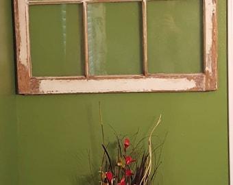 Architectural Salvage ~ C. 1950s   Mid-Century Six Pane 28 x 32 Window Sash, Super Rustic and Distressed *Beautiful*