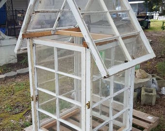 Greenhouse reclaimed salvaged window sashes 8 panes yard decor very cool