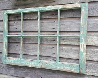 8 Pane Vintage Antique Wood Window Frame Sash VERY chippy and distressed green teal jade beautiful salvaged window 24x37 farm decor
