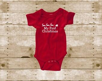 4b7f6fec4 My First Christmas - Unisex Baby Christmas Shirt - Boy's Christmas - Girl's  Christmas - Baby's First Christmas - Christmas Shirt - 1st XMas