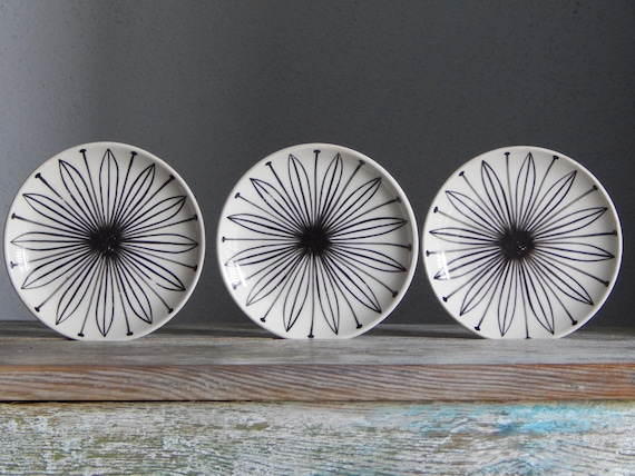 Set of 3 Soviet Vintage Hand Painted Serving Plate Vintage Cake Plate Made in USSR Russian Design 1960 s RPR