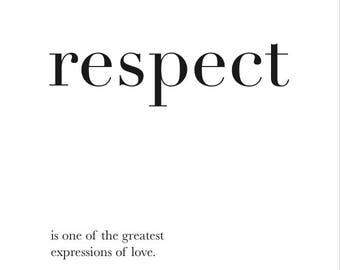 Respect Poster -Digital art, Inspirational wall decoration