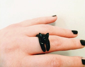 Cute black cat ring, statement ring, cat jewelry, animal ring, cat jewellery, cat gift, easter gifts, custom ring, ooak jewelry