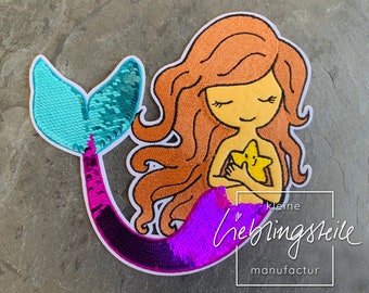 Mermaid Patch Ironing Image Reversible Sequins Iron On Application Planner Stickers