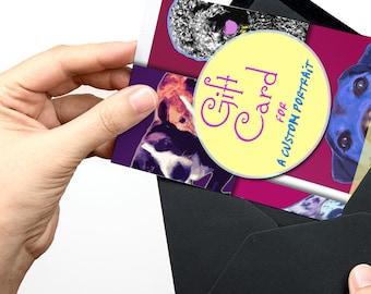Dog lover GIFT CARD, Gift for dog owner, Dog owner gift, Christmas gift card, Gift certificate, Last minute gift, Custom painting gift