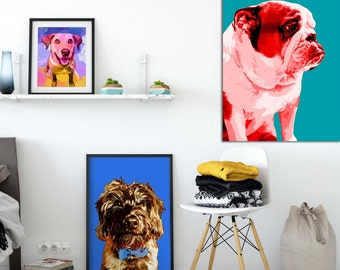 Dog portrait custom, Pop art style dog portrait, Quirky pet portrait, Funny dog portrait, Gift for pet lovert, Dog portrait from photo