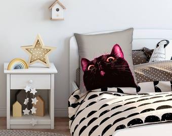 Black cat pillow, Black kitten pillow, Black Cat cushion, Funny cotton cushion, Funny Cat pillow, Pillow with Cat, Cat throw pillow