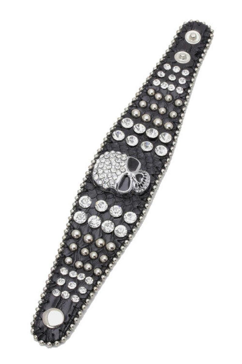 Genuine Leather Skull Bling Bracelet image 3