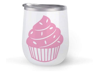 Cupcake purple vinyl DECAL for home cars walls cups bumper stickers glass truck