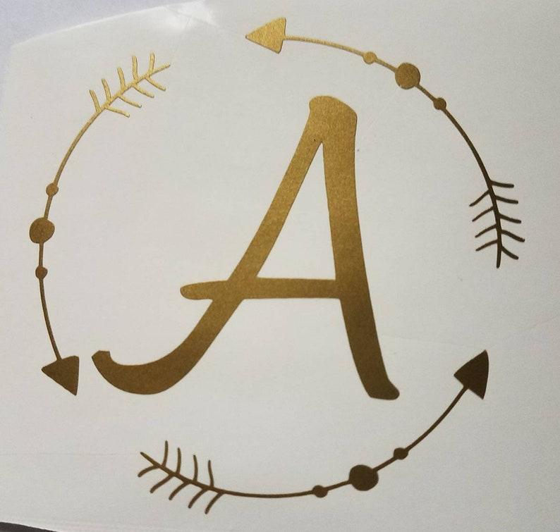 Arrow Circle Monogram Die Cut vinyl window decal car truck laptop sticker