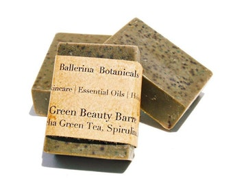 Peppermint Soap with Matcha Green Tea, Spirulina for Bath & Shower Body Wash | Vegan Soap, Handmade Organic Soap