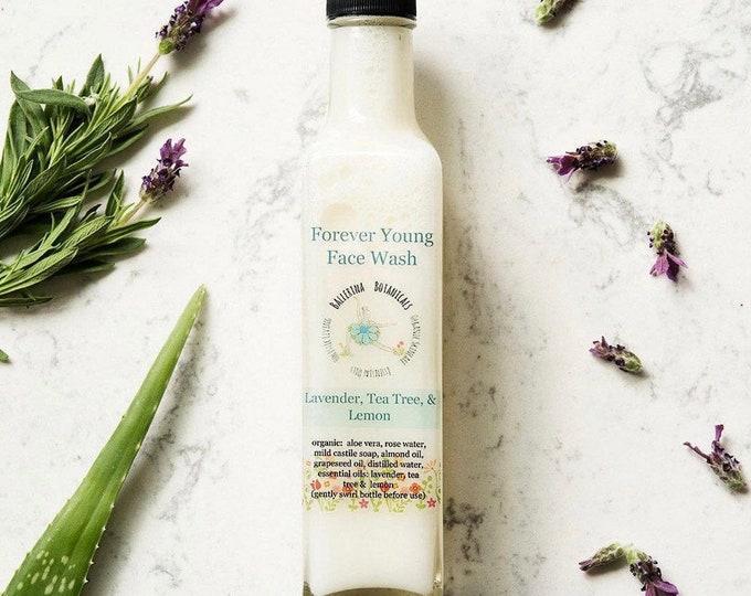 Organic Face Wash | Facial Cleanser With Lavender, Tea Tree, & Lemon for Sensitive Skin, Dry Skin, Anti Aging, (8 oz) | Vegan Face Wash