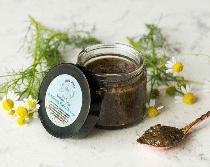 Face Scrub | Exfoliating Facial Scrub with Rooibos Tea, Peppermint Oil, Chamomile Oil, Lemon | Acne Face Scrub | Organic Facial Cleanser