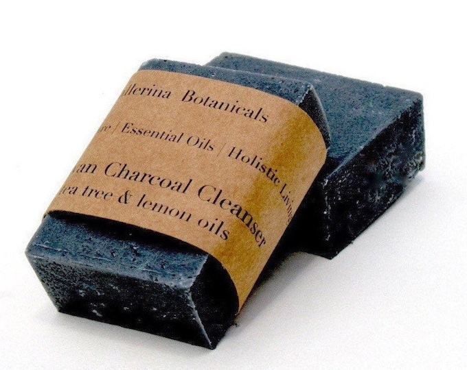 Charcoal Soap for Acne and Oily Skin | Detox Soap with Lemon & Tea Tree Essential Oils, Activated Charcoal + Walnut Shell for Exfoliating