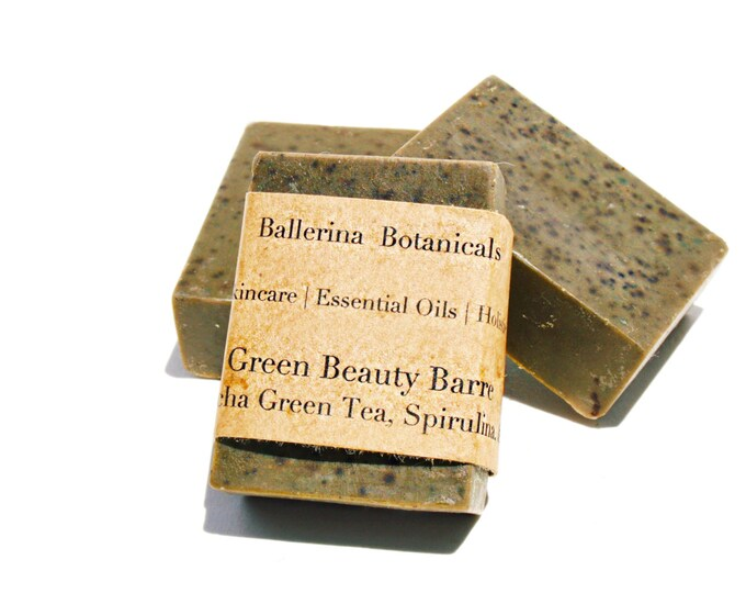 Spirulina Soap with Matcha Green Tea, and Peppermint Essential Oil | Vegan Soap | Handmade Soap for a Bath & Shower Body Wash | Organic Soap
