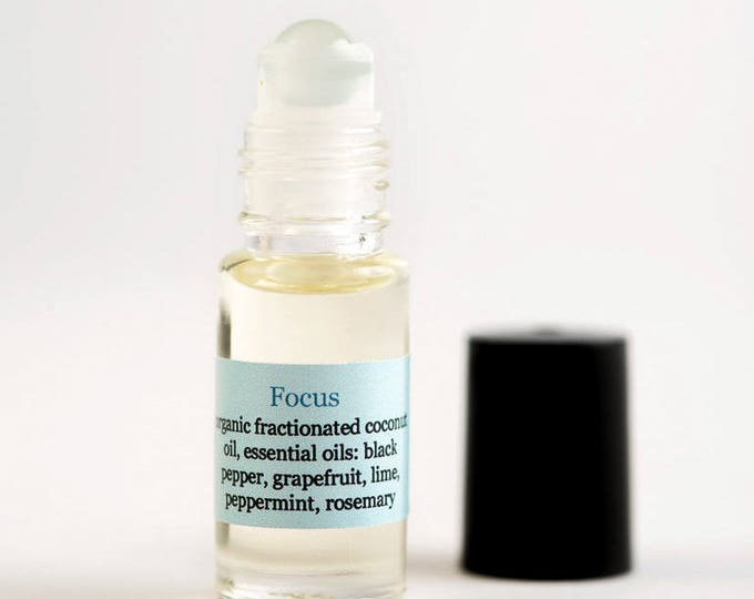 Focus Essential Oil Blend with Black Pepper, Grapefruit, Lime, Peppermint, and Rosemary for Concentration | Roll On Oil Blend | Aromatherapy