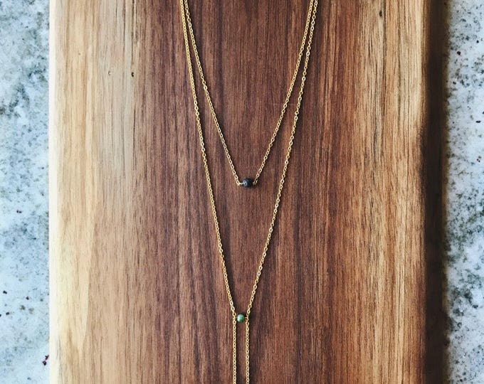 Lava Rock Diffuser Necklace | Layering Necklace with Jade and Lava Stone | Minimalist Necklace