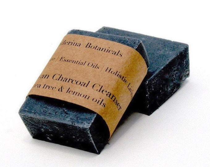 Charcoal Soap | Lemon & Tea Tree Essential Oils with Activated Charcoal | Detox Soap for Acne and Oily Skin | Organic Charcoal Soap
