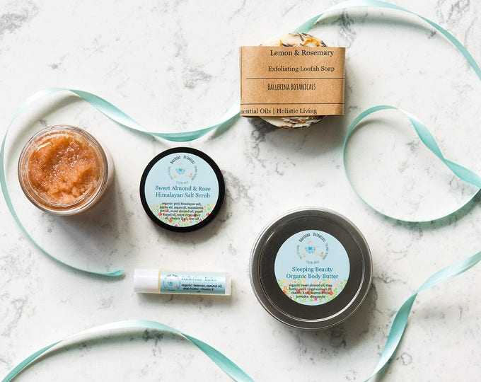 Custom Spa Gift Set | With Loofah Soap, Himalayan Salt Scrub, Organic Body Butter, and Organic Lip Balm | Bridesmaid Gift