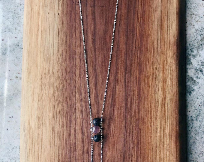 Lava Rock Diffuser Necklace with Botswana Agate | gift for her | comes with essential oil (long necklace 28 in)