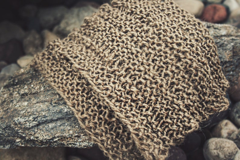 Exfoliating Washcloth  Jute Washcloth Hand Knit by Us for Dry image 0