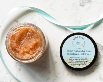 Pink Himalayan Salt Scrub | Body Scrub with Sweet Almond Oil and Rose Essential Oil | Organic Salt Scrub for Detox and Dry Skin, (4oz)