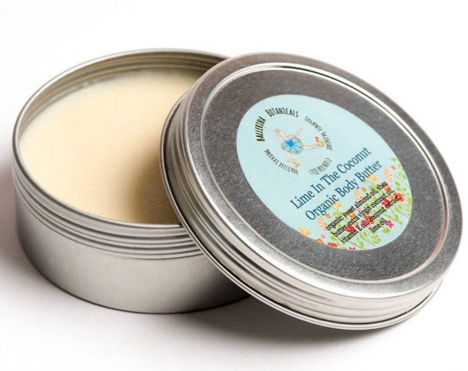 Organic Body Butter | Body Cream with Shea Butter and Vitamin E Oil for Dry Skin | Lime Coconut, Lavender and Chamomile or Frankincense