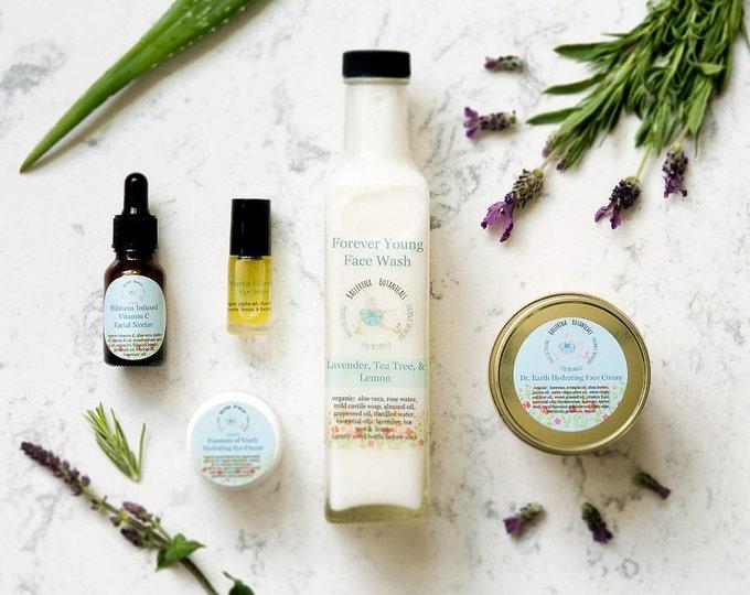 Anti-Aging Skin Care Set | With Facial Cleanser, Facial Serum, Eye Serum, Organic Eye Cream | Natural Skin Care | Facial Care Set