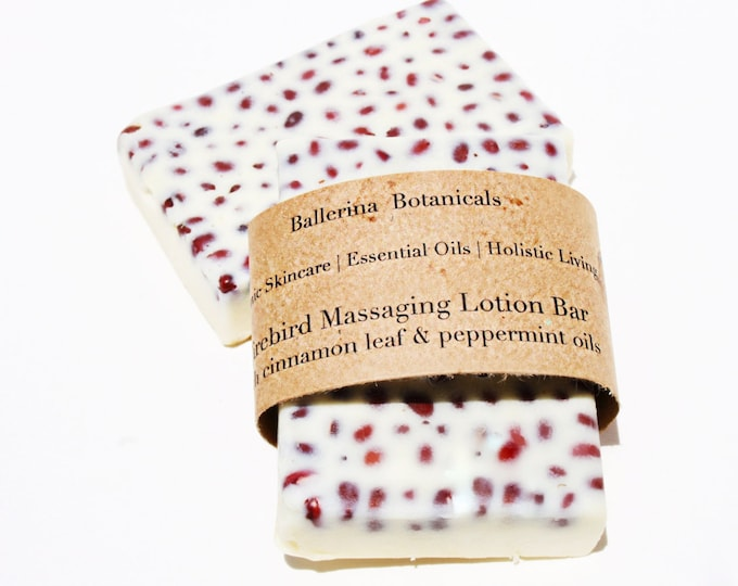 Massaging Lotion Bar with Adzuki Beans, Cinnamon and Peppermint Essential oils | Lotion Bar for Dry Skin & Sore Muscles