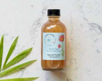 Organic Acne Toner | Tea Tree Toner Made with Apple Cider Vinegar | Facial Toner For Acne Treatment and Oily Skin (4 oz)