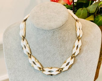 Vintage MONET Bead Necklace Double Strand Bib White Lucite Gold Plate Jewelry VivianJoel.com