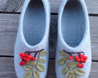Berry Felted Slippers