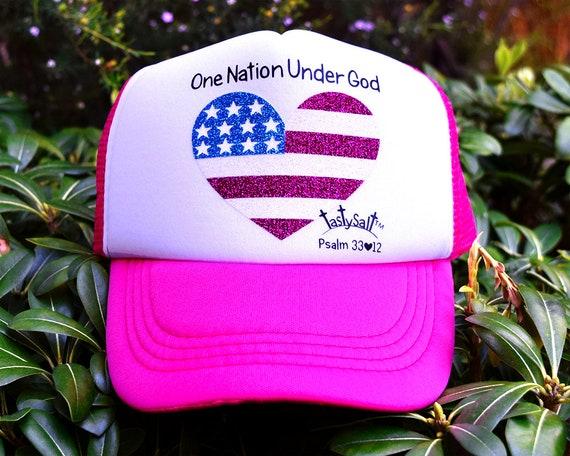 2c466f4d159 One Nation Under God USA Flag Toddler Trucker Hat   girls hat