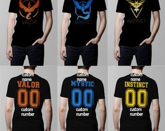 2c9ccbdc3 Team Valor Shirt Team Mystic Shirt Team Instinct Shirt Pokemon Go Black T- Shirt With Custom Name And Custom Number. Male And Female Apparel