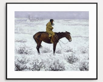 Frederic Remington - The Herd Boy, 1910 - Native American Art Print - Winter - Horse Painting - Native American Wall Art - Winter Painting