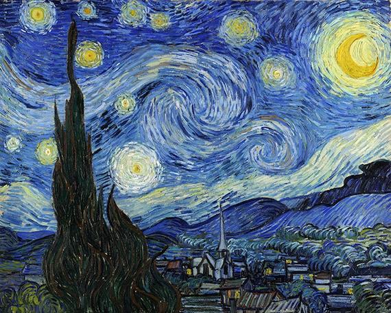 Vincent Van Gogh Starry Night 1889 Van Gogh Wall Art Van Gogh Print Van Gogh Art Van Gogh Painting Swirls Famous Artwork