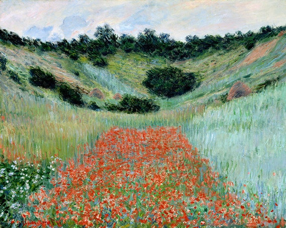 Poppy Field in Summer by Claude Monet Giclee Fine Art Print Repro on Canvas